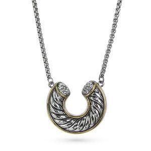 Horseshoe Crystal Pave Statement Pendant Necklace